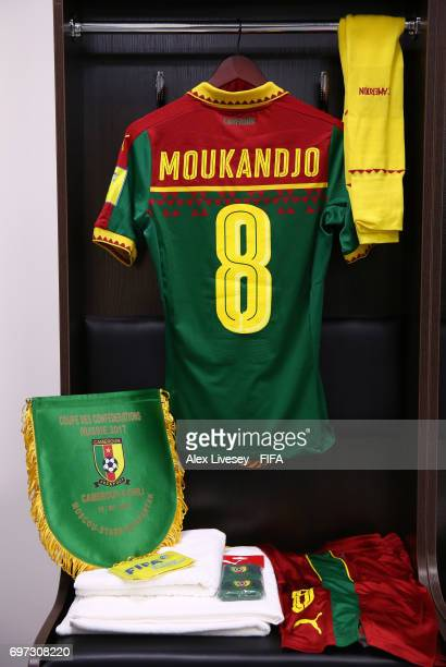 Benjamin Moukandjo of Cameroon shirt hangs in the changing room prior to the FIFA Confederations Cup Russia 2017 Group B match between Cameroon and...