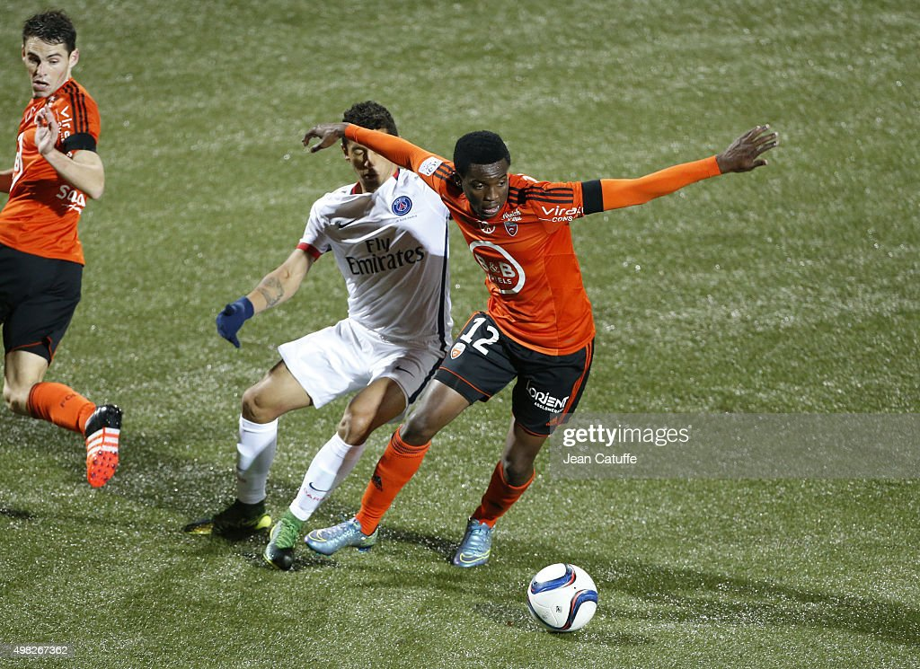 <a gi-track='captionPersonalityLinkClicked' href=/galleries/search?phrase=Benjamin+Moukandjo&family=editorial&specificpeople=7470600 ng-click='$event.stopPropagation()'>Benjamin Moukandjo</a> of FC Lorient in action during the French Ligue 1 match between FC Lorient and Paris Saint-Germain (PSG) at Stade du Moustoir on November 21, 2015 in Lorient, France.