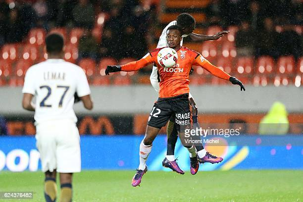 Benjamin Moukandjo of Lorient and Benjamin Mendy of Monaco during the Ligue 1 match between Fc Lorient and As Monaco at Stade du Moustoir on November...