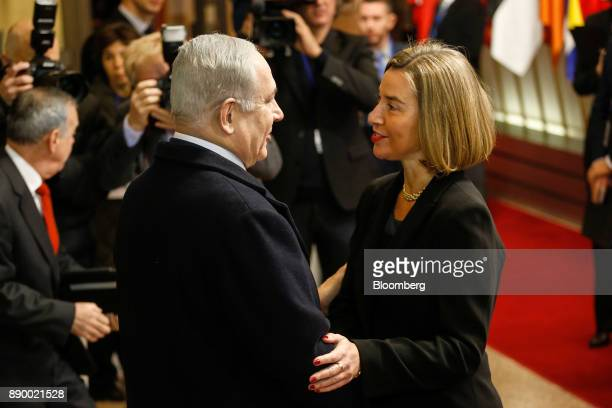 Benjamin Netanyahu Israel's prime minister left greets Federica Mogherini foreign policy chief of the European Union ahead of a meeting at the...