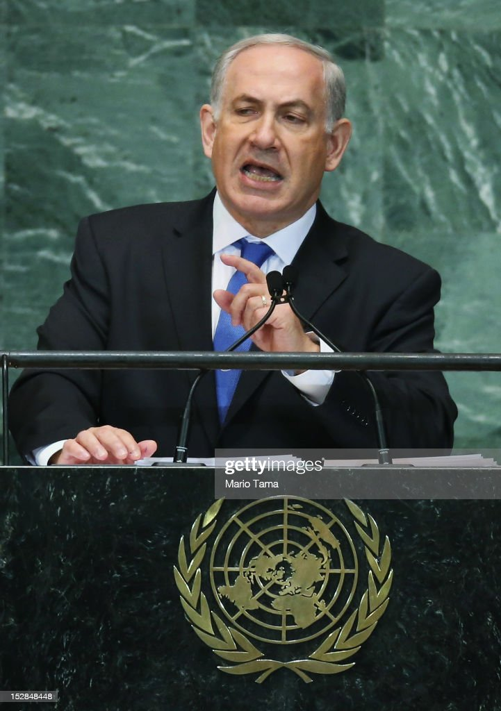 Benjamin Netanyahu, Prime Minister of Israel, addresses the United Nations General Assembly on September 27, 2012 in New York City. The 67th annual event gathers more than 100 heads of state and government for high level meetings on nuclear safety, regional conflicts, health and nutrition and environment issues.