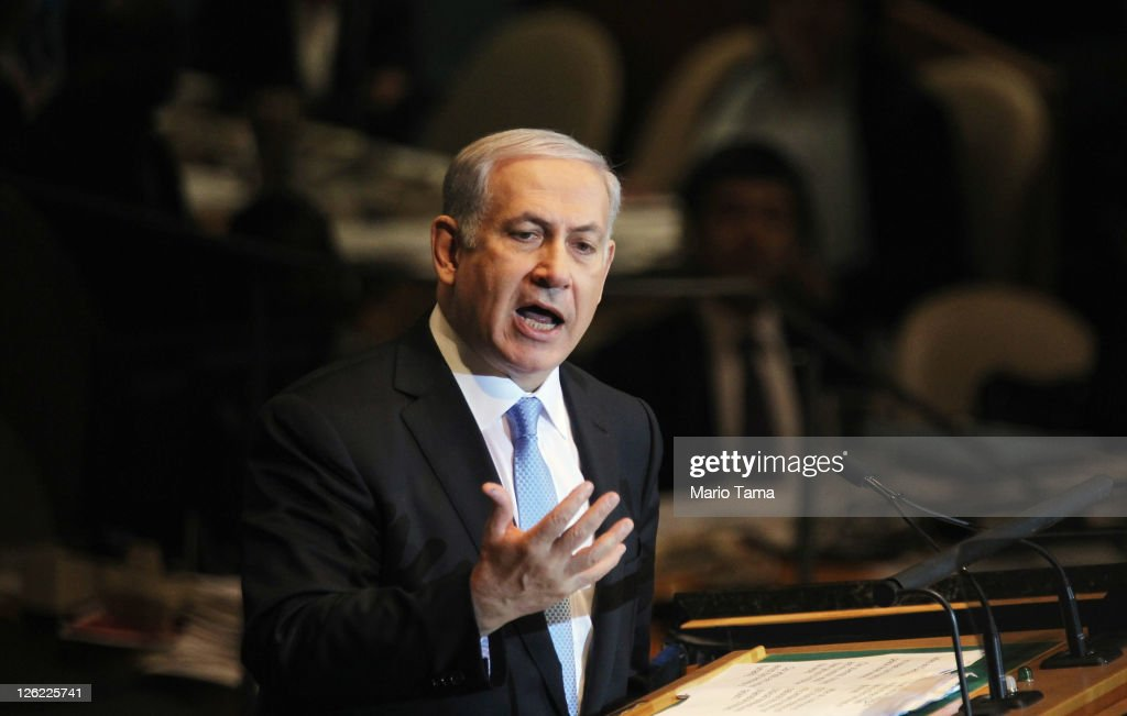 <a gi-track='captionPersonalityLinkClicked' href=/galleries/search?phrase=Benjamin+Netanyahu&family=editorial&specificpeople=118594 ng-click='$event.stopPropagation()'>Benjamin Netanyahu</a>, Prime Minister of Israel, delivers an address to the 66th General Assembly Session at the United Nations on September 23, 2011 in New York City. The annual event, which is being dominated this year by the Palestinian's bid for full membership, gathers more than 100 heads of state and government for high level meetings on nuclear safety, regional conflicts, health and nutrition and environment issues.