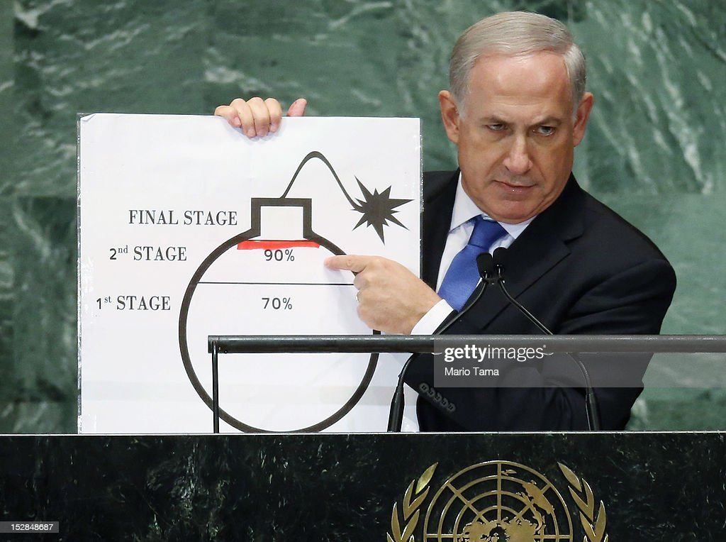 Benjamin Netanyahu, Prime Minister of Israel, points to a red line he drew on a graphic of a bomb while addressing the United Nations General Assembly on September 27, 2012 in New York City. The 67th annual event gathers more than 100 heads of state and government for high level meetings on nuclear safety, regional conflicts, health and nutrition and environment issues.