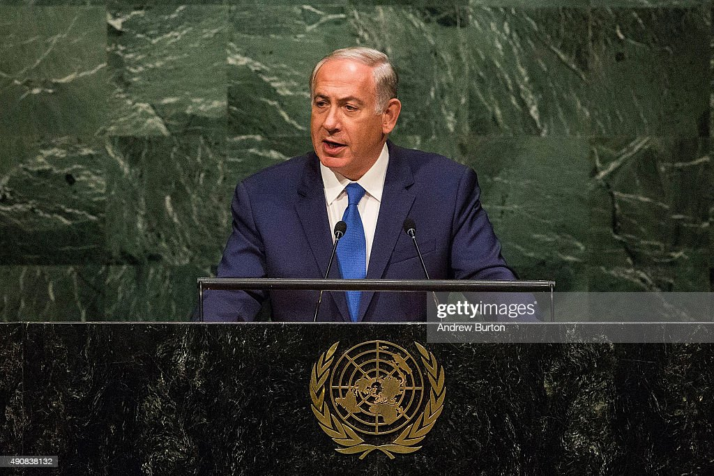 Benjamin Netanyahu Prime Minister of Israel speaks at the United Nations General Assembly on October 1 2015 in New York City World leaders gathered...