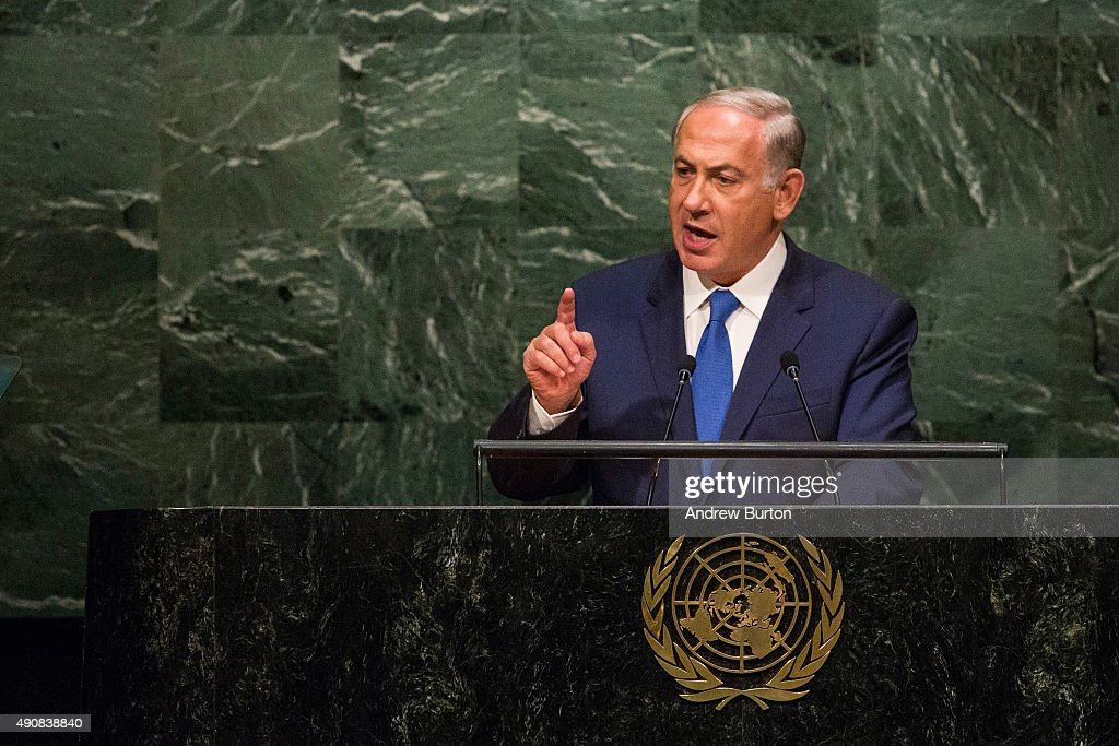 <a gi-track='captionPersonalityLinkClicked' href=/galleries/search?phrase=Benjamin+Netanyahu&family=editorial&specificpeople=118594 ng-click='$event.stopPropagation()'>Benjamin Netanyahu</a>, Prime Minister of Israel, speaks at the United Nations General Assembly on October 1, 2015 in New York City. Netanyahu spoke at length about the nuclear deal with Iran. World leaders gathered for the 70th session of the annual meeting.