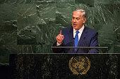 Benjamin Netanyahu Prime Minister of Israel speaks at the United Nations General Assembly on October 1 2015 in New York City Netanyahu spoke at...