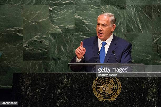 Benjamin Netanyahu Prime Minister of Israel speaks at the United Nations General Assembly on October 1 2015 in New York City Netanyahu spoke at...