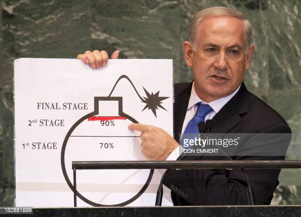 Benjamin Netanyahu Prime Minister of Israel uses a diagram of a bomb to describe Iran's nuclear program while delivering his address to the 67th...