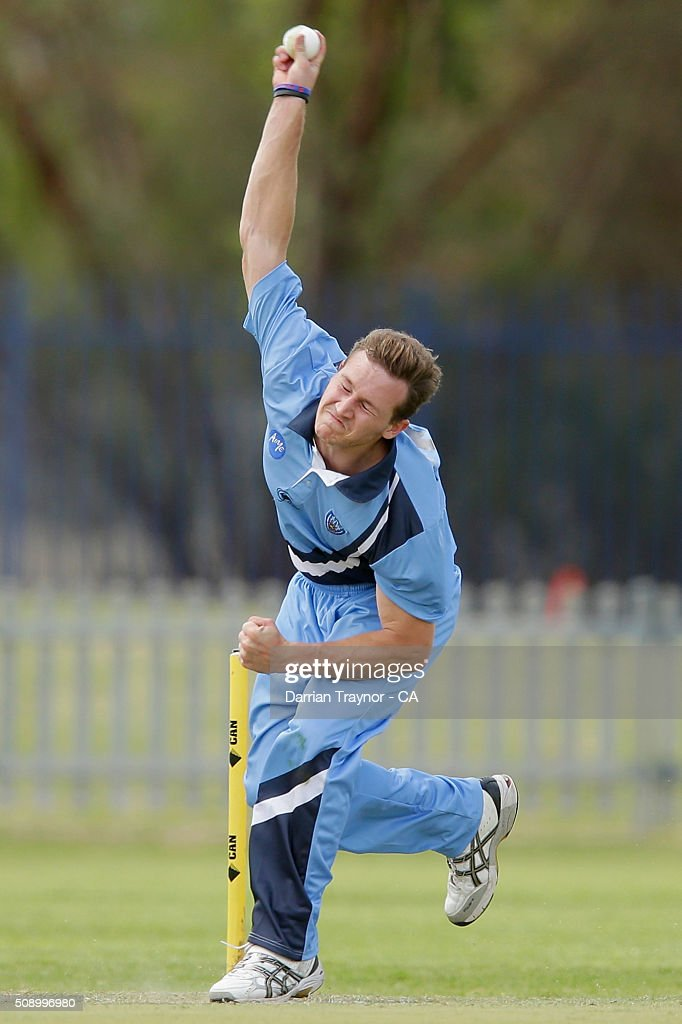 Benjamin Patterson of New South Wales bowls against Victoria on day 1 of the National Indigenous Cricket Championships on February 8, 2016 in Alice Springs, Australia.