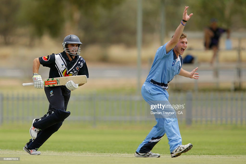 Benjamin Patterson of New South Wales takes the wicket of Nathan Gardiner of Victoria on day 1 of the National Indigenous Cricket Championships on February 8, 2016 in Alice Springs, Australia.