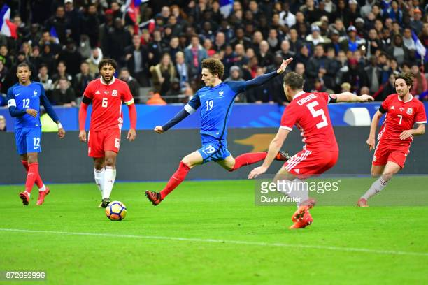 Benjamin Pavard of France hits a shot against the post during the international friendly match between France and Wales at Stade de France on...