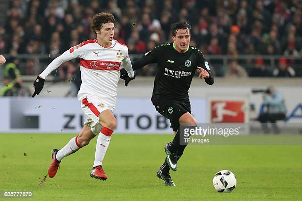 Benjamin Pavard of Stuttgart and Edgar Prib of Hannover 96 battle for the ball during the Second Bundesliga match between VfB Stuttgart and Hannover...