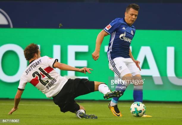 Benjamin Pavard of Stuttgart and Yevhen Konoplyanka of Schalke battle for the ball during the Bundesliga match between FC Schalke 04 and VfB...