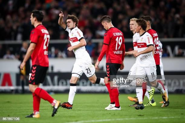 Benjamin Pavard of Stuttgart celebrates after scoring his team's second goal to make it 20 during the Bundesliga match between VfB Stuttgart and...