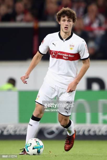 Benjamin Pavard of Stuttgart controls the ball during the Bundesliga match between VfB Stuttgart and SportClub Freiburg at MercedesBenz Arena on...
