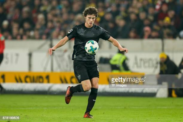 Benjamin Pavard of Stuttgart controls the ball during the Bundesliga match between VfB Stuttgart and Borussia Dortmund at MercedesBenz Arena on...