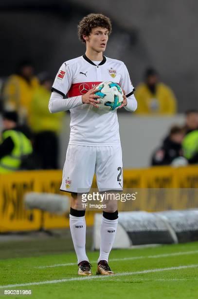 Benjamin Pavard of Stuttgart controls the ball during the Bundesliga match between VfB Stuttgart and Bayer 04 Leverkusen at MercedesBenz Arena on...