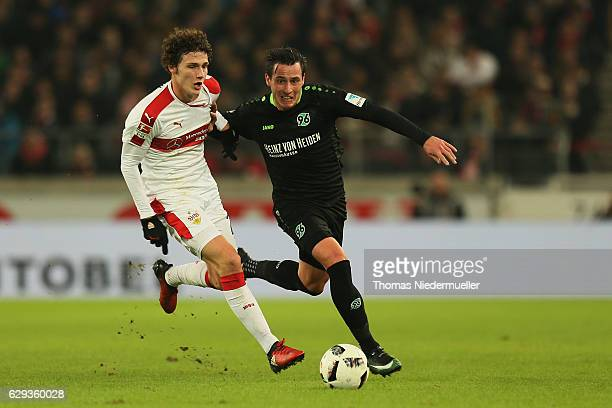 Benjamin Pavard of Stuttgart fights for the ball with Edgar Prib of Hannover during the Second Bundesliga match between VfB Stuttgart and Hannover 96...