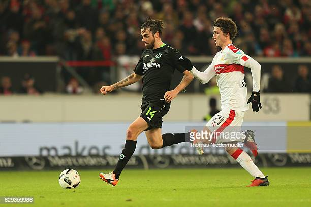 Benjamin Pavard of Stuttgart fights for the ball with Martin Harnik of Hannover during the Second Bundesliga match between VfB Stuttgart and Hannover...