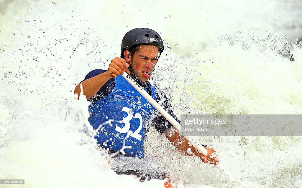 Benjamin Pope of Australia competes in the Men's Canoe during day four of the Australian Youth Olympic Festival at the Penrith White Water Stadium on January 19, 2013 in Sydney, Australia.