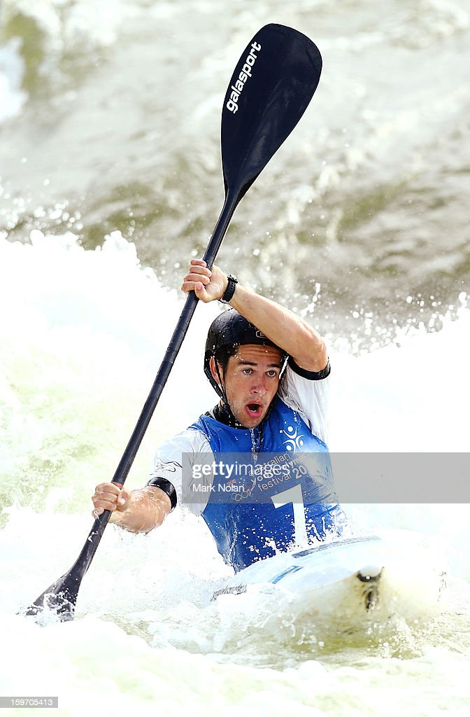 Benjamin Pope of Australia competes in the Men's Kayak during day four of the Australian Youth Olympic Festival at the Penrith White Water Stadium on January 19, 2013 in Sydney, Australia.