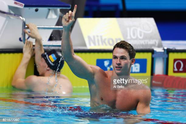 Benjamin Proud of Great Britain celebrates winning gold in the Men's 50m Butterfly Final on day eleven of the Budapest 2017 FINA World Championships...