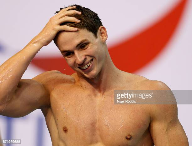 Benjamin Proud of Plymouth LEA reacts after winning the Mens Open 50m Butterfly Final on day six of the 2017 British Swimming Championships at Ponds...