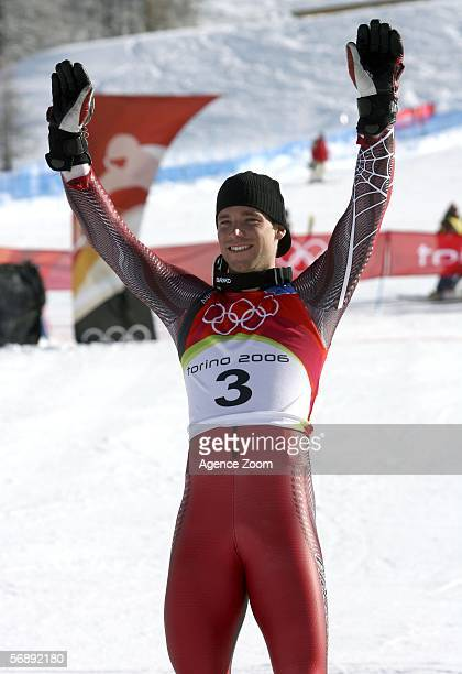 Benjamin Raich of Austria celebrates taking gold in the Mens Alpine Skiing Giant Slalom competition on Day 10 of the 2006 Turin Winter Olympic Games...