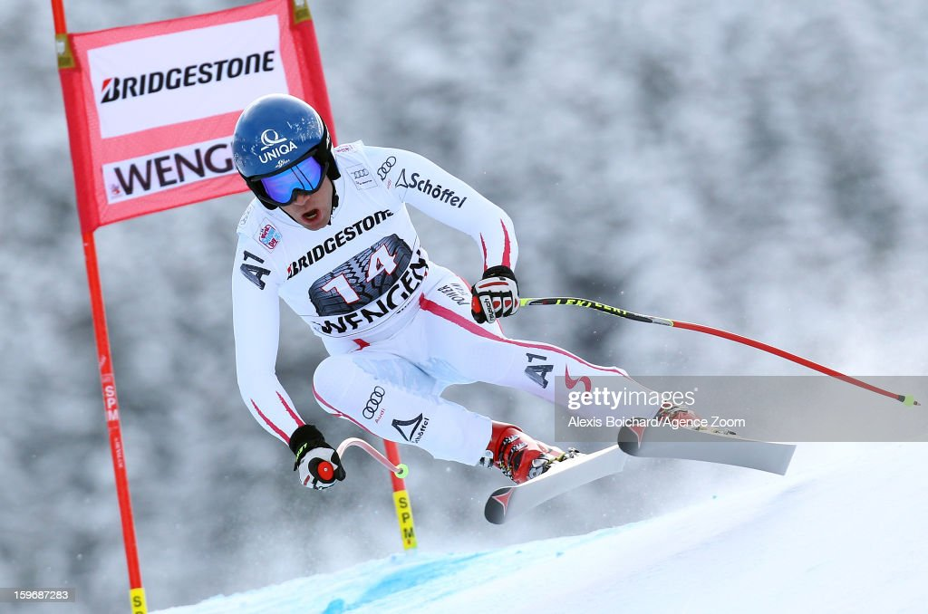 <a gi-track='captionPersonalityLinkClicked' href=/galleries/search?phrase=Benjamin+Raich&family=editorial&specificpeople=209244 ng-click='$event.stopPropagation()'>Benjamin Raich</a> of Austria competes during the Audi FIS Alpine Ski World Cup Men's Super Combined on January 18, 2013 in Wengen, Switzerland.