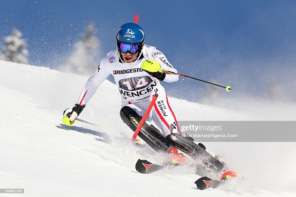Benjamin Raich of Austria competes during the Audi FIS Alpine Ski World Cup Men's Super Combined on January 18, 2013 in Wengen, Switzerland.