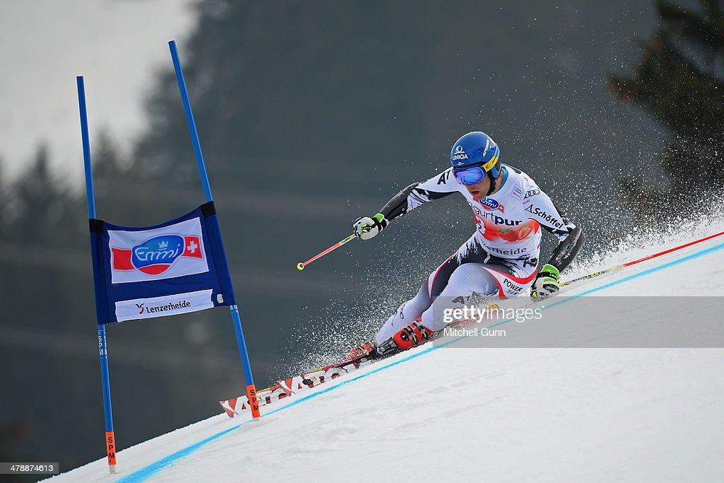 Benjamin Raich of Austria competes in the Audi FIS Alpine Skiing World Cup Finals Giant Slalom on March 15, 2014 in Lenzerheide, Switzerland.