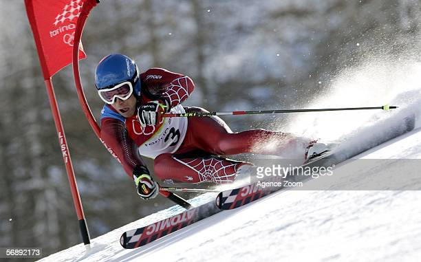 Benjamin Raich of Austria competes in the Mens Alpine Skiing Giant Slalom competition on Day 10 of the 2006 Turin Winter Olympic Games on February 20...