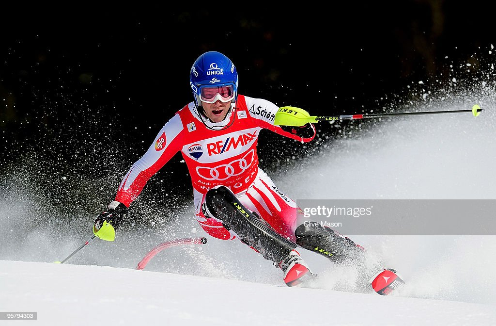 <a gi-track='captionPersonalityLinkClicked' href=/galleries/search?phrase=Benjamin+Raich&family=editorial&specificpeople=209244 ng-click='$event.stopPropagation()'>Benjamin Raich</a> of Austria in action during the Mens Super Combined Slalom event on January 15, 2010 in Wengen, Switzerland.