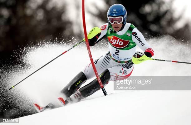 BAD KLEINKIRCHHEIM AUSTRIA DECEMBER 09 Benjamin Raich of Austria takes 1st place during the Alpine FIS Ski World Cup Men's Slalom on December 09 2007...