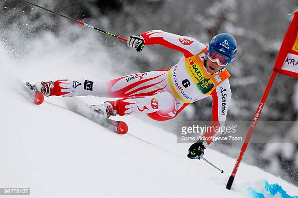 Benjamin Raich of Austria takes 6th place during the Audi FIS Alpine Ski World Cup Men's Giant Slalom on January 30 2010 in Kranjska Gora Slovenia