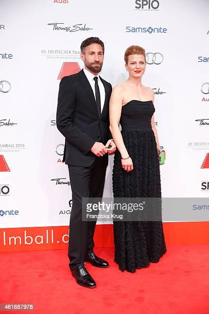 Benjamin Sadler and Joerdis Triebel attend the German Film Ball 2015 on January 17 2015 in Munich Germany