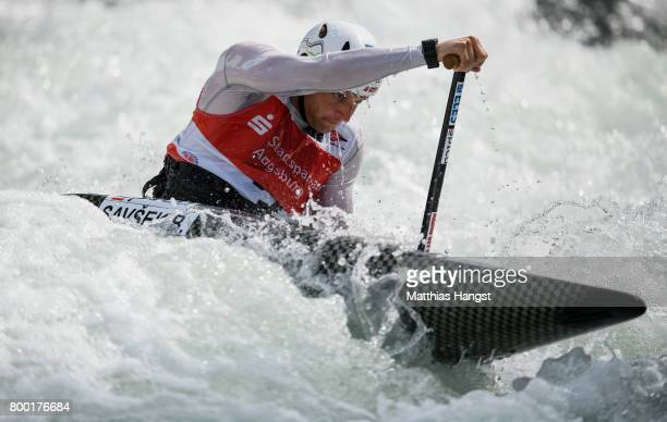 Benjamin Savsek of Slovenia competes during the Canoe Single Men's Qualification of the ICF Canoe Slalom World Cup on June 23 2017 in Augsburg Germany