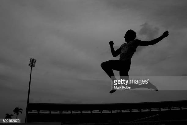 Benjamin Schmidtchen of Australia competes in the boy's long jump final on day 4 of the 2017 Youth Commonwealth Games at Thomas A Robinson National...