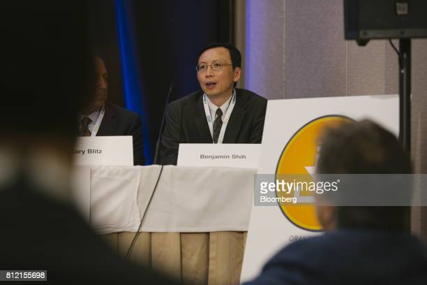 Benjamin Shih vice president of Moody's Corp speaks during the Intersolar North America Conference in San Francisco California US on Monday July 10...