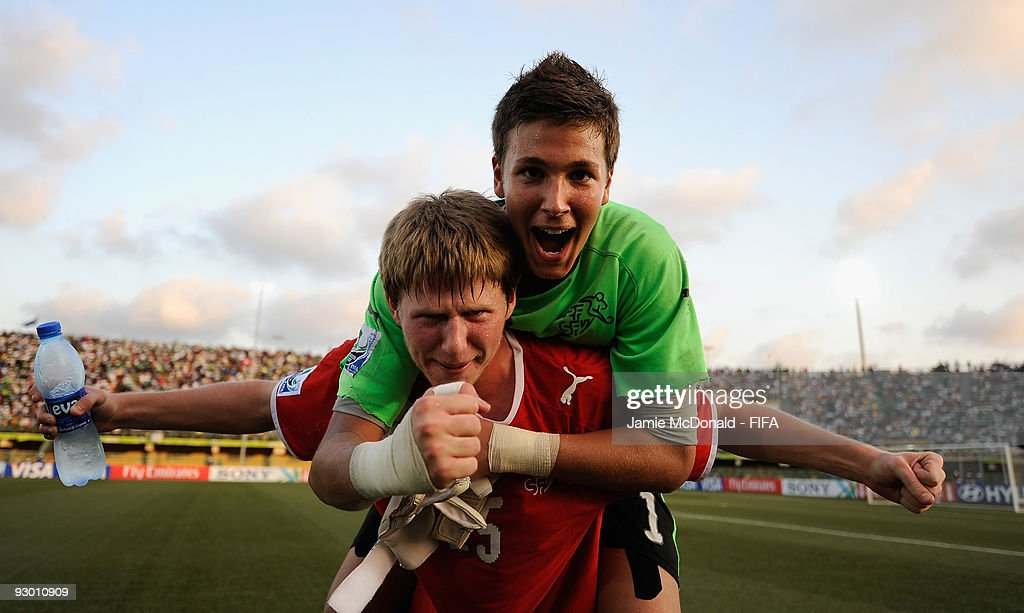 Benjamin Siegrist and Sead Hajrovic of Switzerland celebrate their place in the Final during the FIFA U17 World Cup SemiFinal 1 between Colombia and...
