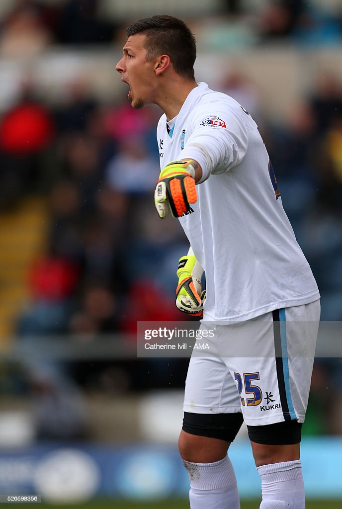 Benjamin Siegrist of Wycombe Wanderers during the Sky Bet League Two match between Wycombe Wanderers and Accrington Stanley at Adams Park on April 30, 2016 in High Wycombe, England.