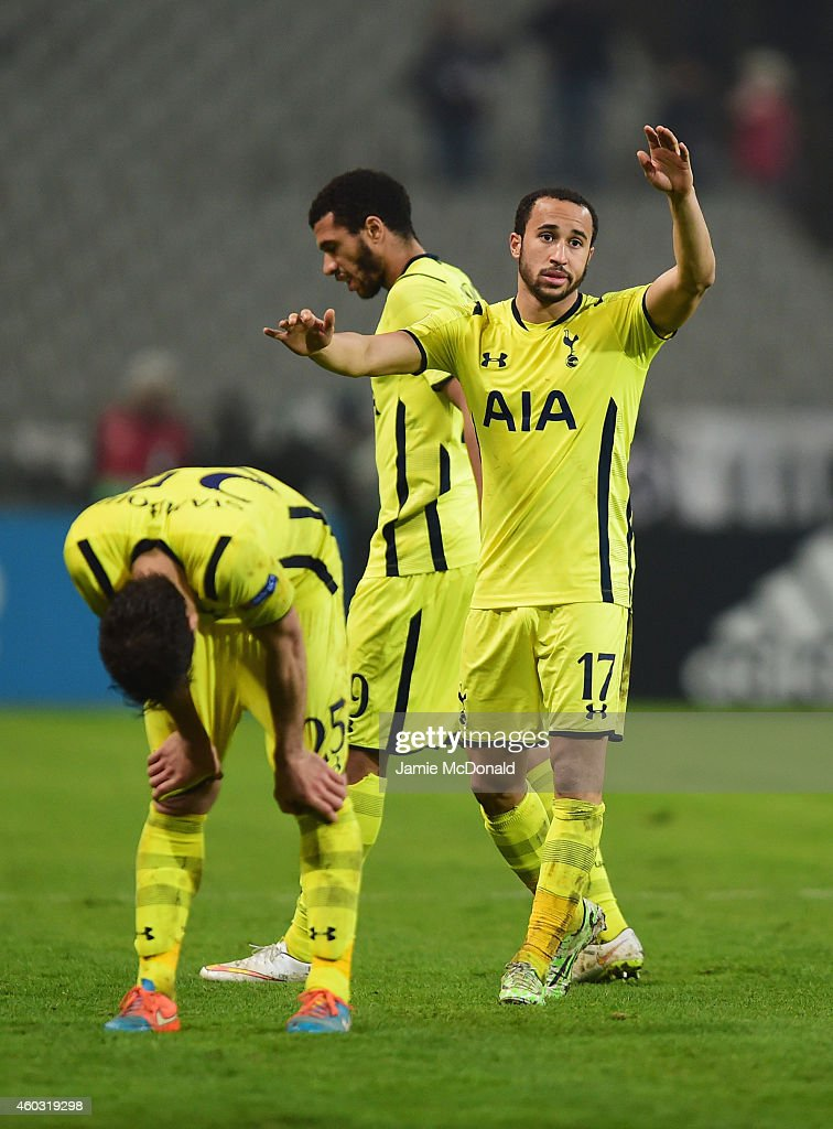 Benjamin Stambouli, Etienne Capoue and Andros Townsend of Spurs look dejected in defeat after the UEFA Europa League Group C match between Besiktas JK and Tottenham Hotspur FC at Ataturk Olympic Stadium on December 11, 2014 in Istanbul, Turkey.