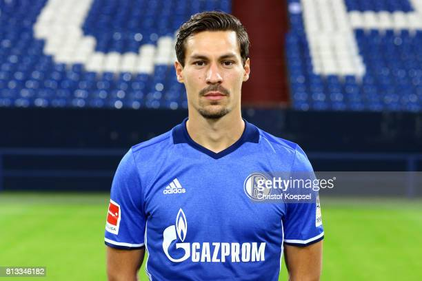 Benjamin Stambouli of FC Schalke 04 poses during the team presentation at Veltins Arena on July 12 2017 in Gelsenkirchen Germany