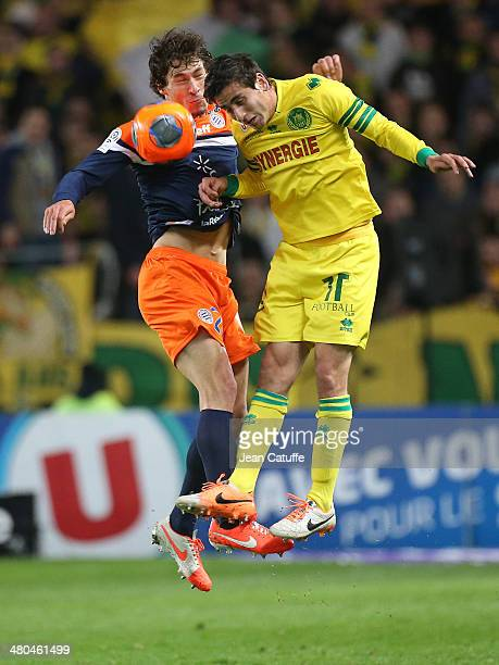 Benjamin Stambouli of Montpellier and Alejandro Bedoya of Nantes in action during the french Ligue 1 match between FC Nantes and Montpellier Herault...