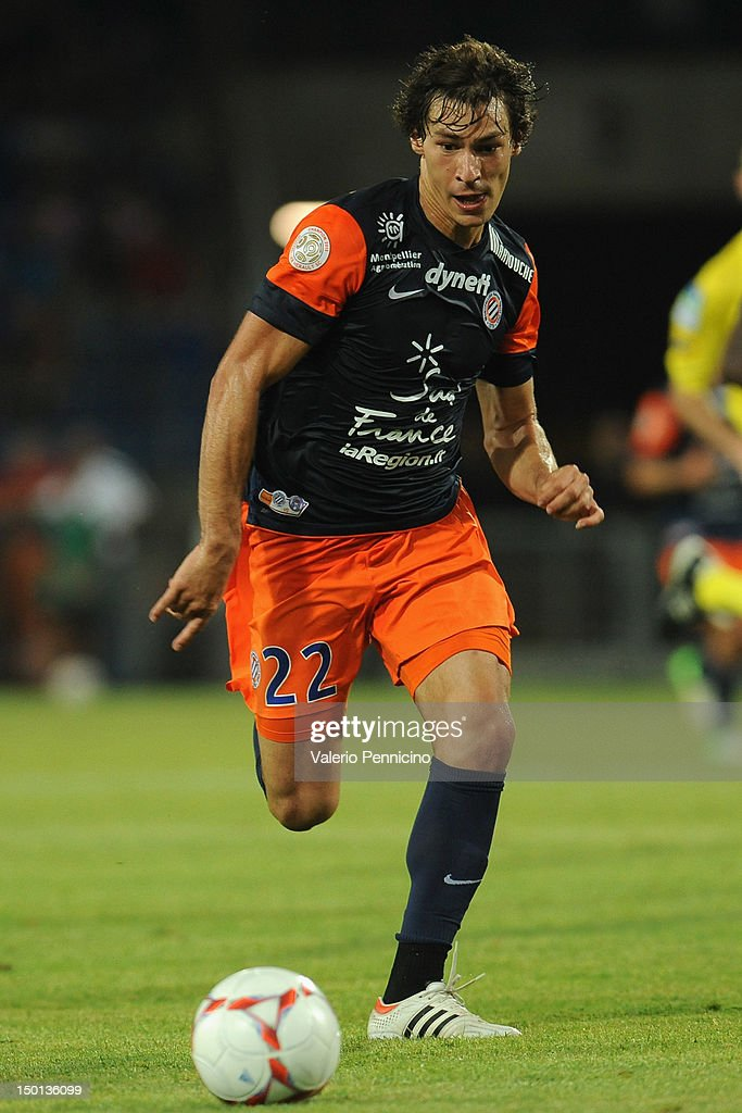 <a gi-track='captionPersonalityLinkClicked' href=/galleries/search?phrase=Benjamin+Stambouli&family=editorial&specificpeople=7133311 ng-click='$event.stopPropagation()'>Benjamin Stambouli</a> of Montpellier Herault SC in action during the Ligue 1 match between Montpellier Herault SC and Toulouse FC at Stade de la Mosson on August 10, 2012 in Montpellier, France.