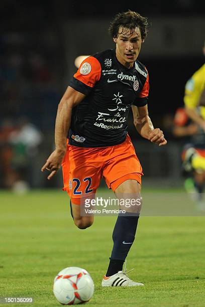 Benjamin Stambouli of Montpellier Herault SC in action during the Ligue 1 match between Montpellier Herault SC and Toulouse FC at Stade de la Mosson...