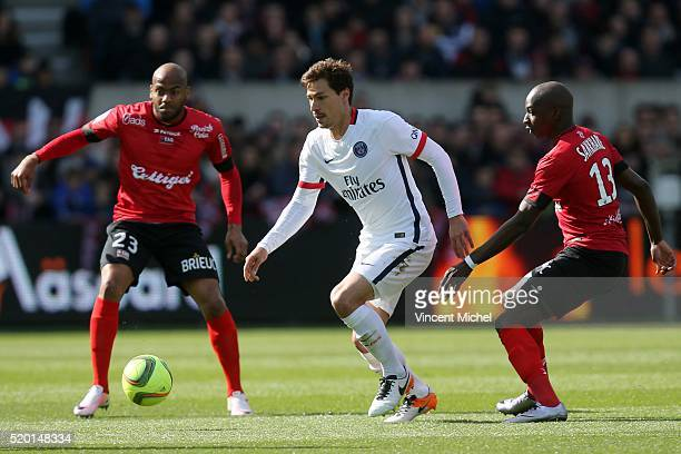 Benjamin Stambouli of Paris SaintGermain during the French League 1 match between EA Guingamp and Paris SaintGermain on April 9 2016 in Guingamp...