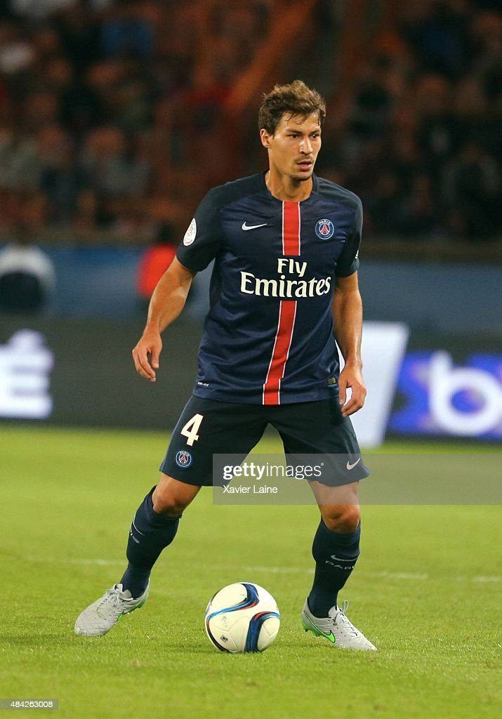 <a gi-track='captionPersonalityLinkClicked' href=/galleries/search?phrase=Benjamin+Stambouli&family=editorial&specificpeople=7133311 ng-click='$event.stopPropagation()'>Benjamin Stambouli</a> of Paris Saint-Germain during the French Ligue 1 between Paris Saint-Germain FC and GFC Ajaccio at Parc Des Princes on August 16, 2015 in Paris, France.