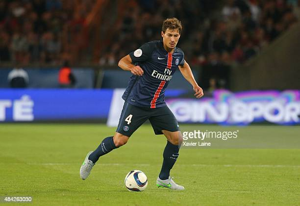 Benjamin Stambouli of Paris SaintGermain during the French Ligue 1 between Paris SaintGermain FC and GFC Ajaccio at Parc Des Princes on August 16...