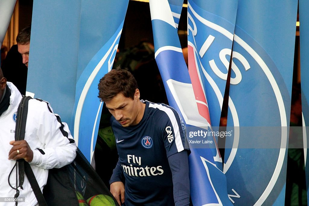 <a gi-track='captionPersonalityLinkClicked' href=/galleries/search?phrase=Benjamin+Stambouli&family=editorial&specificpeople=7133311 ng-click='$event.stopPropagation()'>Benjamin Stambouli</a> of Paris Saint-Germain during the French Ligue 1 match between Paris Saint-Germain and Stade Rennais at Parc des Princes on April 29, 2016 in Paris, France.